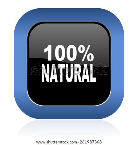 natural square glossy icon 100 percent natural sign  - stock photo