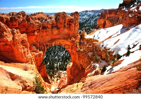 Natural Stone Bridge/Arch at Bryce Canyon - stock photo