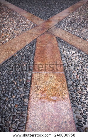 Natural stone pathway at rainy day background  texture. - stock photo
