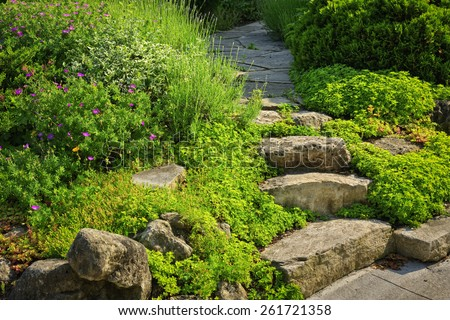 Natural stone steps and path landscaping in home garden - stock photo
