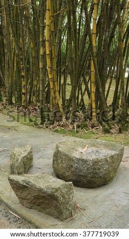 Natural Stone Stool In Japanese Garden