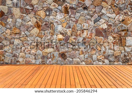 Natural stone wall and wood plank texture for background - stock photo