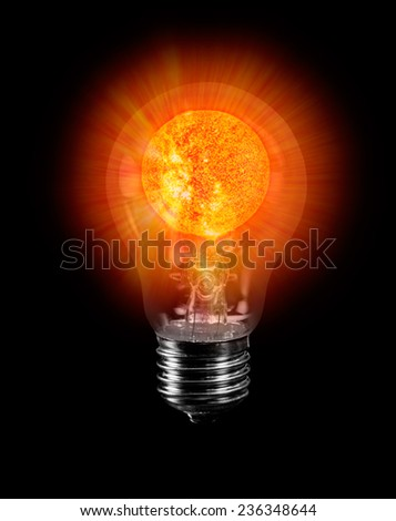 "natural sun energy in light bulb isolated ""Elements of this image furnished by NASA ""  - stock photo"