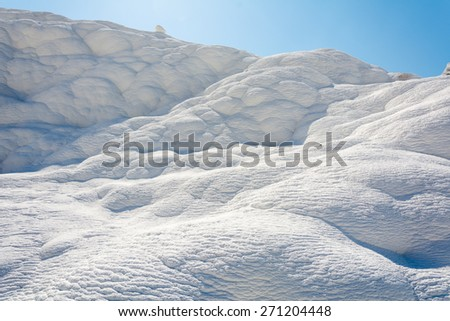 """Natural travertine pools and terraces at Pamukkale ,Turkey. Pamukkale, meaning """"cotton castle"""" in Turkish. - stock photo"""
