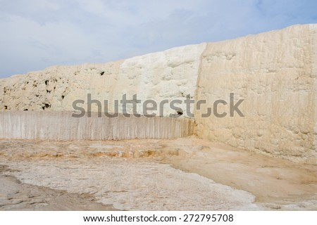 Natural travertine terraces and pools in Pamukkale ,Turkey (Cotton Castle). UNESCO World Heritage - stock photo