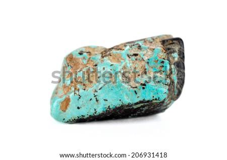 Natural turquoise tumbled stone on white - stock photo