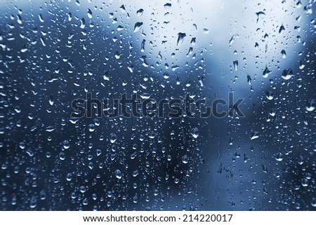 Natural water drops on glass texture