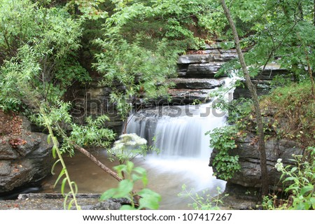 Natural waterfall flowing through an Ozark forest in Northwest Arkansas.