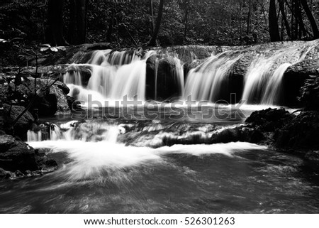 Natural waterfall in black and white