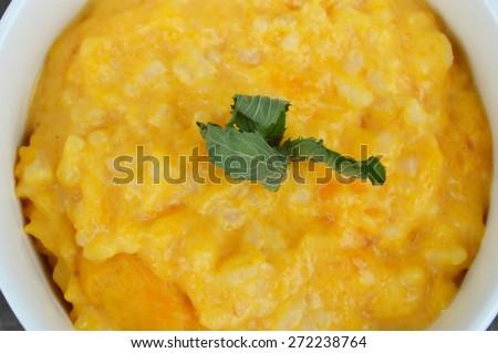 Natural,wholesome,organic pumpkin porridge - stock photo