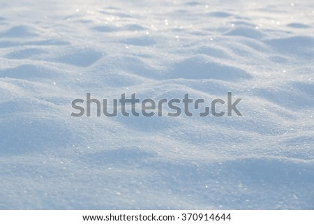 Natural winter background of fresh snow with copy space - stock photo