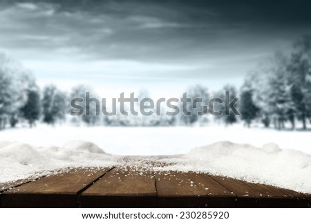 natural winter landscape and desk of brown and snow space  - stock photo