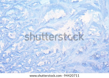 Natural wintry hoarfrost background on a window - stock photo