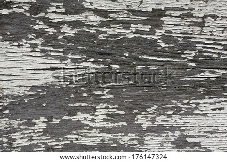 Natural wood background with flaking white paint - stock photo