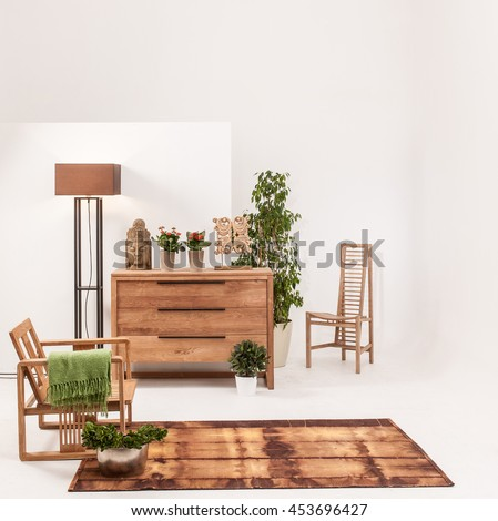 natural wood furniture white wall decor