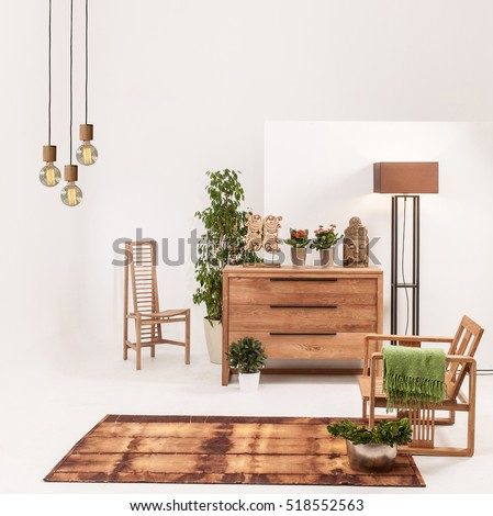 Natural Wood Furniture White Wall Decor, Modern Lamp Part 86