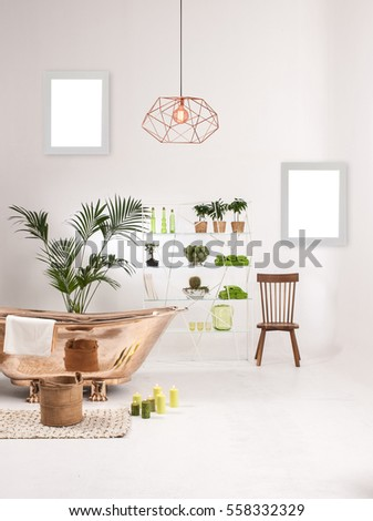 Natural Wood Furniture White Wall Decor, Modern Lamp And Frame, Copper  Bathroom Accessories And