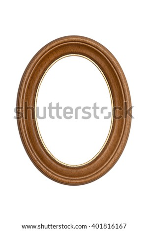 Natural wood picture frame isolated on white background