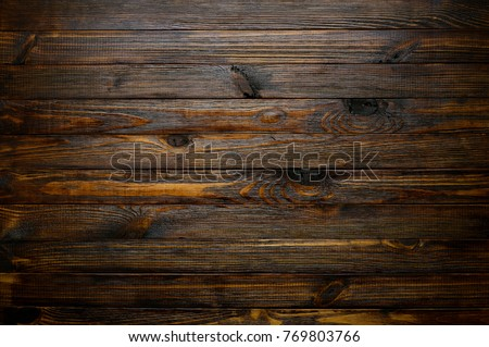 Natural Wood Texture. Wood Background. Blank Dark Rustic Planks Table Top  Flat Lay View
