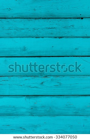 Natural wooden blue, turquoise boards, wall or fence with knots. Painted wooden horizontal planks. Abstract textured background, empty template - stock photo