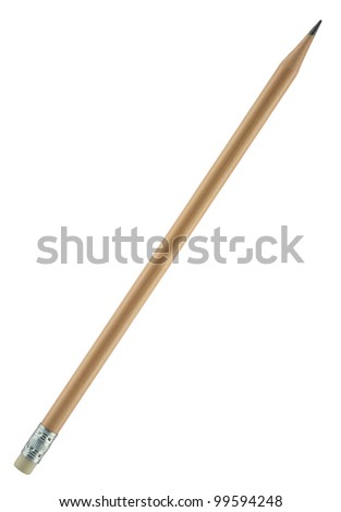 Natural wooden pencil with an attached eraser on the end of. Ideal for offices, schools, home, etc. Wooden pencil painted with transparent varnish. Object is isolated on white background. - stock photo
