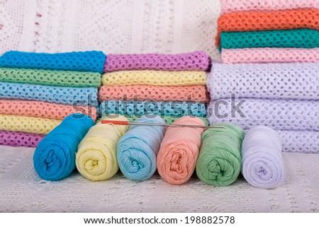natural yarn fabric handmade various colors - stock photo