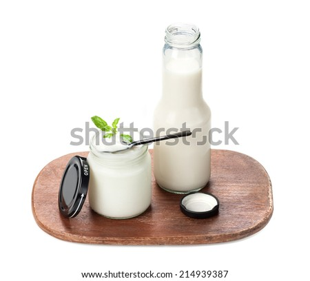 natural yogurt in glass jar