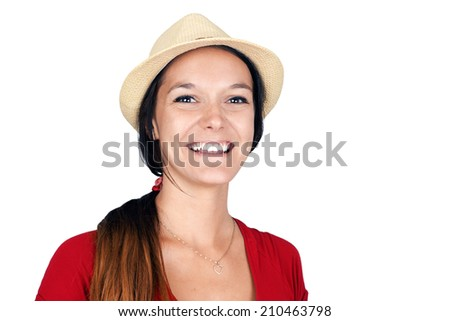 Natural young brunette woman laughing, fedora straw hat - stock photo
