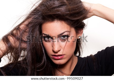 Natural... Young  confident woman with long hair on white background