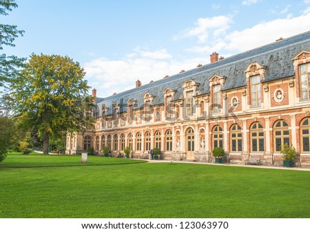 Nature and architecture of the Fontainebleau, French Castle - stock photo