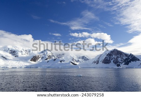 Nature and landscapes of Antarctic. Climate changes, structure of the atmosphere. Thawing of ices and phenomenon of global warming.  - stock photo