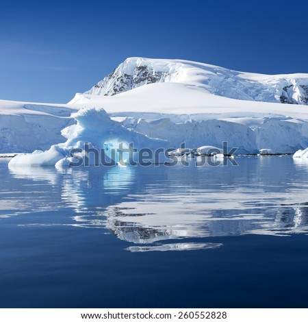 Nature and landscapes of Antarctic.Travel on the scientific vessel among ices. Studying of a phenomenon of global warming. Ices and icebergs of unusual forms and colors.  - stock photo