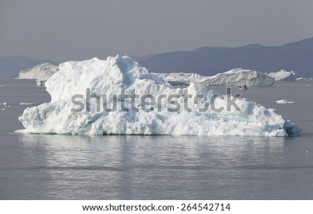 Nature and landscapes of Greenland. Unique climatic and ice region. Research of a phenomenon of global warming in polar regions of the planet. - stock photo