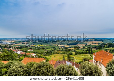 nature and memories - view from the terrace of the medieval village of bertinoro in Italy overlooking the hills of the Romagna countryside sloping down to the sea