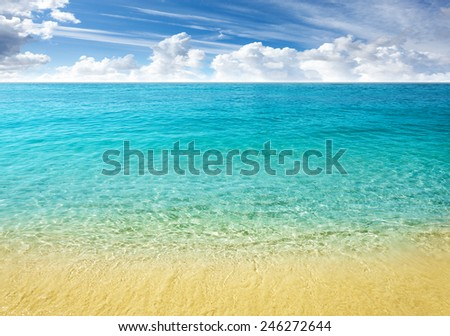 Nature background, clear water and blue cloudy sky. - stock photo