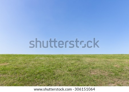 Nature background, green grass and blue sky - stock photo