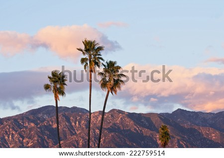 Nature background. Taken from Pasadena (California) with the San Gabriel Mountains in the background. - stock photo