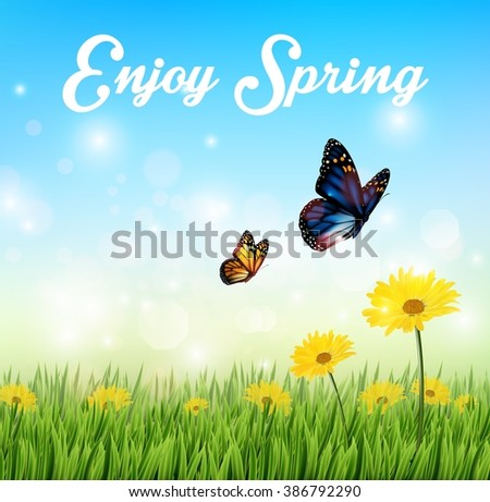 Nature Background with butterflies and Flowers in the grass - stock photo