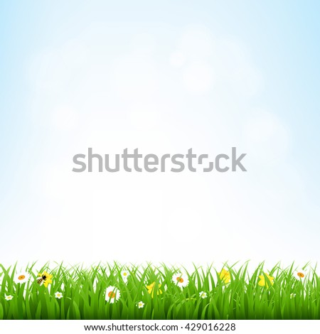 Nature Background With Grass Border  - stock photo