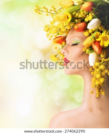 Nature beauty with mimosa and colorful tulips