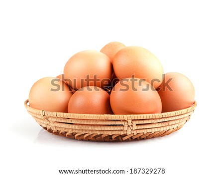 nature chicken eggs in a bowl isolated on white