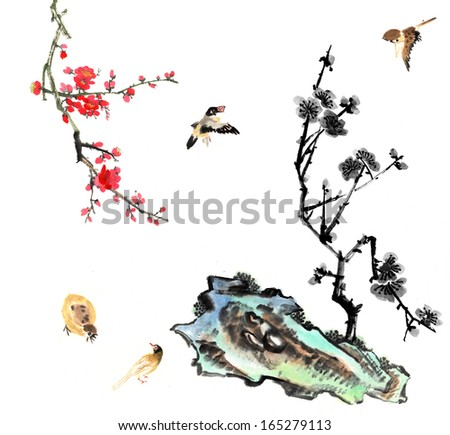 nature,Chinese element--plant,plum blossom and stone with bird