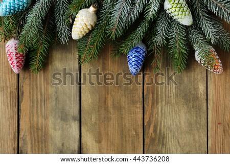 nature christmas decorations, rustic xmas - stock photo