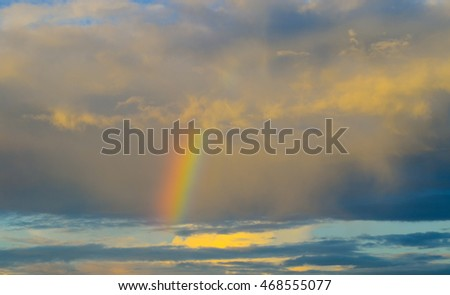 Nature cloudscape with blue sky and white cloud with  and rainbow