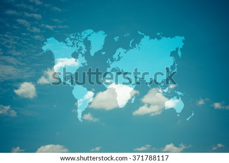 Nature cloudscape with blue sky and white cloud with world map , process in vintage style