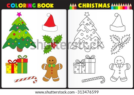 Nature Coloring Book Page Preschool Children Stock Illustration ...