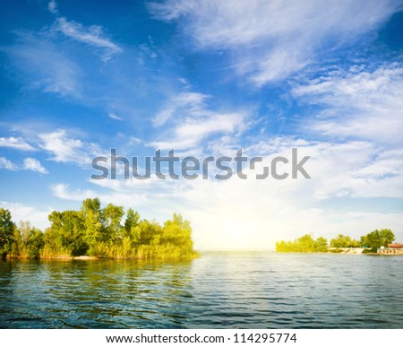Nature composition. by the river - stock photo