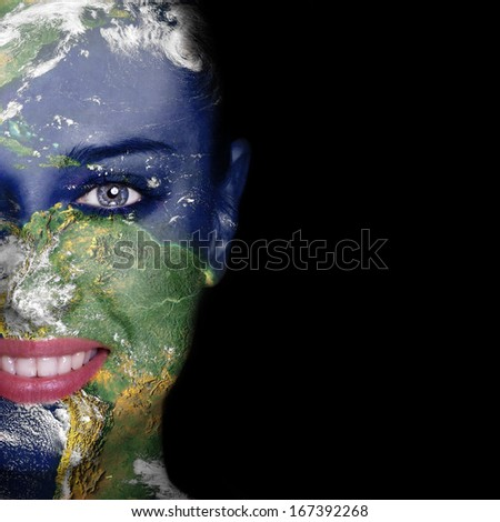 "Nature concept -woman face covered with earth photo ""Elements of this image furnished by NASA"" - stock photo"