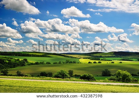 Nature countryside fields beautiful day - stock photo