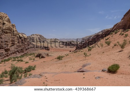 Nature, desert and rocks of Wadi Rum (Valley of the Moon), Jordan. UNESCO World Heritage. Panorama